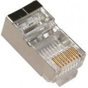 "RJ45 Shielded Modular Plug, Cat.6, Long Type, 3u"" Gold plated, 100pcs/bag"