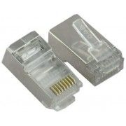 "RJ45 Shielded Modular Plug, Cat.6, Long Type, 30u"" Gold plated, 100pcs/bag"
