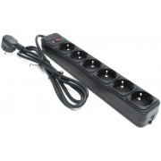 Surge Protector   6 Sockets,  1.8m, Ultra Power, black, UP6-B-6PPB