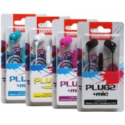"MAXELL ""PLUGZ"" White, Earphones with in-line Microphone, Hands free calling features, 3 sets of ear tips, Fabric braided cord, Cord type cable 1.2 m"