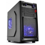 "DEEPCOOL ""SMARTER LED"" Micro-ATX Case,  without PSU, 2 fans pre-installed (2x 120mm Blue LED fan), fully black painted interior, VGA Compatibility: 320mm, 1x 2.5"" Drive Bays, 1xUSB3.0, 1xUSB2.0 /Audio, Black"