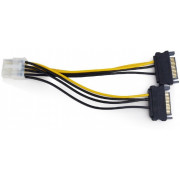 """Cable, CC-PSU-83 internal power adapter cable for PCI express, 8 pin to SATA x 2 pcs, Cablexpert -     http://cablexpert.com/item.aspx?id=8734"""