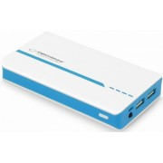11000mAh Power Bank - Esperanza EMP107WB, White/Blue, Power capacity: 11000mAh, Portable Battery Charger with 2 x USB output sockets, Four LED Power capacity indicators, Output power: 5V/1A, 2A