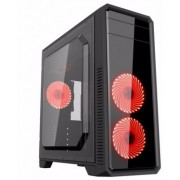 """Case ATX Gamemax G561-F Red, Transparent side panel, 3 x 12cm 32xLeds Red LED Fans, USB3.0 """"59Plus chassis, 0.5mm Case in black,  Black Chassis inside  USB3.0*1+USB2.0*2, HD_Audio Port,  Handy Screw, Hdd cage with Tool-less Kit Front panel : 12cm 32"