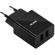 ACME CH204 Wall charger, Black, Input AC 100–240 V, 50/60 Hz, Output 2 x USB Type-A DC 5 V, 2.4 A (12 W)