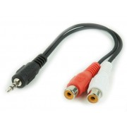 Audio cable 3.5mm-RCA - 0.2m - Cablexpert CCA-406, 3.5 mm stereo plug to 2 x RCA sockets stereo audio cable, 0,2 m
