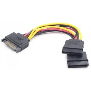 SATA Power Cable - 0.15m - Cablexpert CC-SATAM2F-01, SATA power supply splitter cable with single SATA male to 2 x SATA female connectors