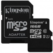 16GB Kingston microSD Class10 UHS-I + SD adapter Canvas Select, Up to: 80MB/s