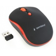Gembird MUSW-4B-03-R, Wireless Optical Mouse, 2.4GHz, 4-button, 800/1200/1600dpi, Nano Reciver, USB, Black/Red