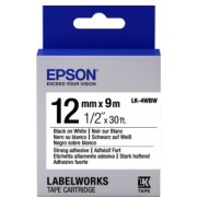 Tape Cartridge EPSON 12mm/9m, Strng adh Blk/Wht, LK4WBW C53S654016