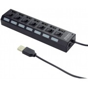 Gembird USB Hub UHB-U2P7-03, 7-port hub with External Power Adapter, USB 2.0