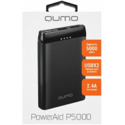 Power Bank  5000 mAh, Qumo PowerAid P5000 Black, ABS Plastic, 2xUSB: 5V/2.4A