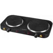 Electric Hot Plate ESPERANZA YELLOWSTONE EKH007K Black, 2500W (1x1500W, 1x1000W), 2 heating plates with a diameter of 18.8 cm and 15.5 cm, External dimensions of the oven: 48 x 23.5 x 7 cm, The length of the power cord: 0.75m, Smooth 5-step power regulati