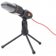 Gembird MIC-D-03 Desktop microphone with a tripod, Frequency: 100 Hz - 16 kHz, Sensitivity: - 62 +/- 3 db,  Voltage: 2...5 V, 3.5 mm audio plug, cable length 1.2 m, weight: 200g, Black