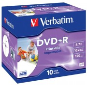 Verbatim DataLifePlus DVD+R AZO 4.7GB 16X WIDE PRINTABLE SURFACE - Jewel Case 10pcs.