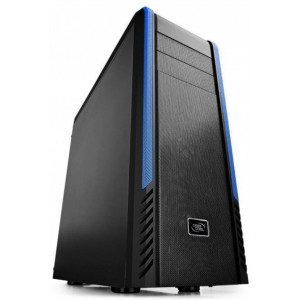 "DEEPCOOL ""PANGU Black"" ATX Case,  without PSU, Massive metal mesh, Tool-less, 2x 120mm front Blue LED fan, 1x 120mm rear Blue LED fan, Innovative Inside 180° Cooling Fan Bracket, Removable HDD cage, Bottom loaded PSU, 2xUSB3.0, 2xUSB2.0 /Audio, Black"