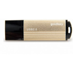 8GB  USB2.0  Flash Drive  Goldkey, Gold Metallic-Black Cap, Classic (R/W:18/4MB/s)