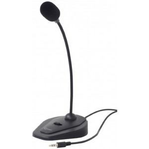 Gembird MIC-D-01 Desktop microphone with flexible gooseneck and practical on/off switch, Frequency: 20 Hz - 20 kHz, Sensitivity: - 62 +/- 3 db,  Voltage: 2...5 V, 3.5 mm audio plug, cable length 1.2 m, weight: 105 g, Black